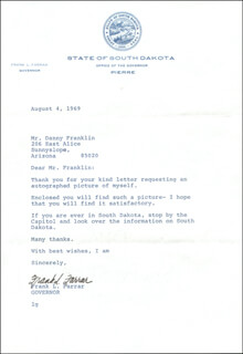 GOVERNOR FRANK L. FARRAR - TYPED LETTER SIGNED 08/04/1969