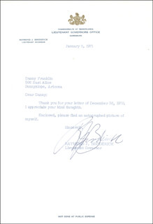 Autographs: RAYMOND J. BRODERICK - TYPED LETTER SIGNED 01/05/1971