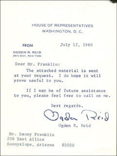 OGDEN R. REID - TYPED LETTER SIGNED 07/12/1968