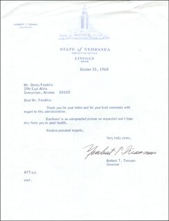 GOVERNOR NORBERT T. TIEMANN - TYPED LETTER SIGNED 10/31/1968