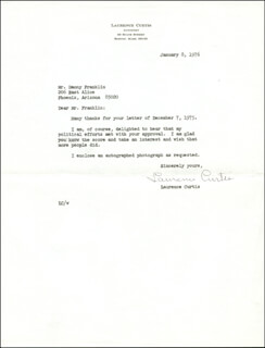 Autographs: LAURENCE CURTIS - TYPED LETTER SIGNED 01/08/1976