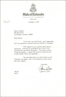 GOVERNOR JOHN A. LOVE - TYPED LETTER SIGNED 10/07/1971