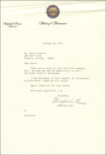 GOVERNOR WINFIELD DUNN - TYPED LETTER SIGNED 10/22/1973