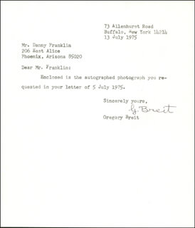 GREGORY BREIT - TYPED LETTER SIGNED 07/13/1975