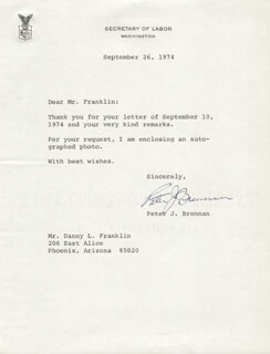 Autographs: PETER BRENNAN - TYPED LETTER SIGNED 09/26/1974