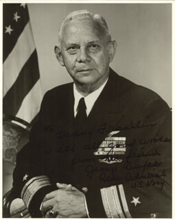 Autographs: REAR ADMIRAL GEORGE DUFEK - INSCRIBED PHOTOGRAPH SIGNED