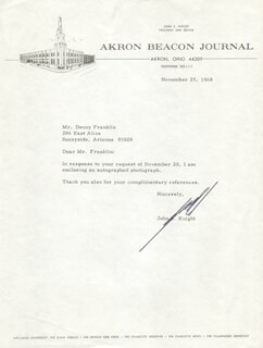 JOHN S. KNIGHT - TYPED LETTER SIGNED 11/25/1968