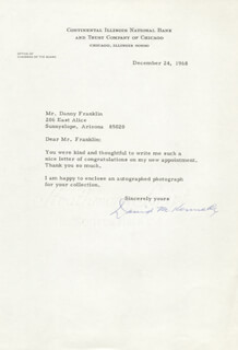 DAVID M. KENNEDY - TYPED LETTER SIGNED 12/24/1968