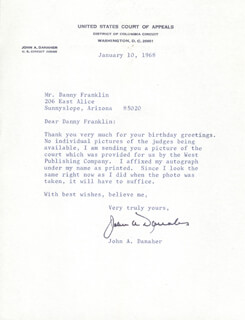 JOHN A. DANAHER - TYPED LETTER SIGNED 01/10/1968