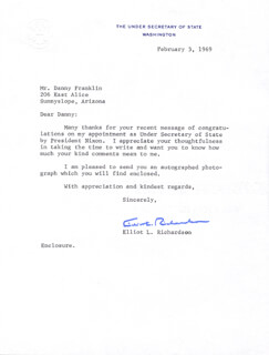Autographs: ELLIOT L. RICHARDSON - TYPED LETTER SIGNED 02/03/1969
