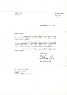 Autographs: PREMIER WILLIAM DAVIS (CANADA) - TYPED LETTER SIGNED 09/11/1972