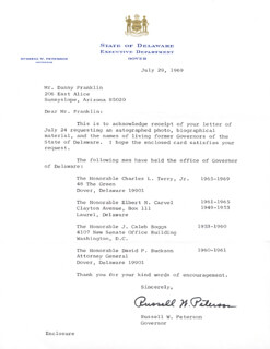 RUSSELL W. PETERSON - TYPED LETTER SIGNED 07/29/1969
