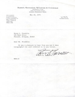 ROSS R. BARNETT - TYPED LETTER SIGNED 05/20/1974