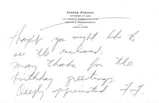 GOVERNOR FOSTER FURCOLO - AUTOGRAPH NOTE SIGNED