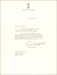 PREMIER RICHARD B. HATFIELD (CANADA) - TYPED LETTER SIGNED 01/20/1976