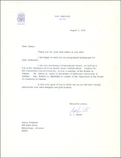 PREMIER G. I. SMITH (CANADA) - TYPED LETTER SIGNED 08/07/1969