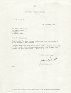 JAMES ROOSEVELT - TYPED LETTER SIGNED 01/29/1969