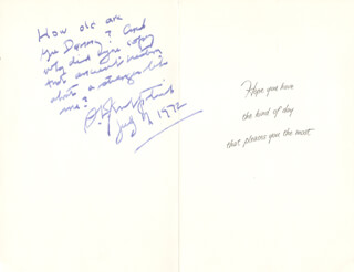 Autographs: SIDNEY J. KIRKPATRICK - GREETING CARD SIGNED 07/17/1972