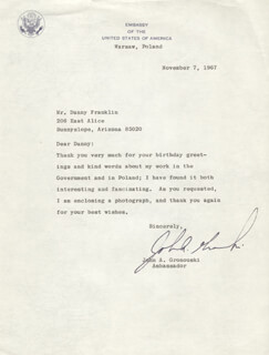 Autographs: JOHN A. GRONOUSKI - TYPED LETTER SIGNED 11/07/1967