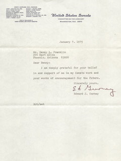 EDWARD GURNEY - TYPED LETTER SIGNED 01/07/1975