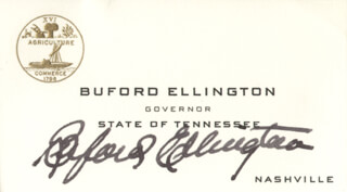 GOVERNOR BUFORD ELLINGTON - BUSINESS CARD SIGNED  - HFSID 273573