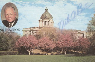 GOVERNOR NILS A. BOE - PICTURE POST CARD SIGNED CIRCA 1968