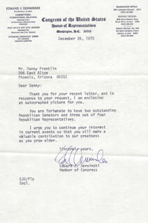 EDWARD J. DERWINSKI - TYPED LETTER SIGNED 12/26/1975