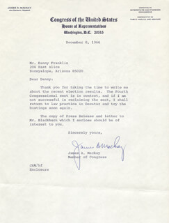 JAMES A. MACKAY - TYPED LETTER SIGNED 12/08/1966