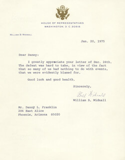 Autographs: WILLIAM B. WIDNALL - TYPED LETTER SIGNED 01/20/1975