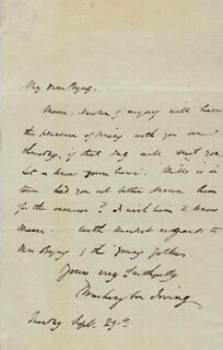 WASHINGTON IRVING - AUTOGRAPH LETTER SIGNED 9/29