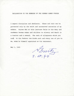 GRAND ADMIRAL KARL DONITZ - TYPESCRIPT SIGNED 10/09/1974