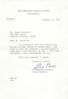 GOVERNOR C. WILLIAM O'NEILL - TYPED LETTER SIGNED 01/18/1974