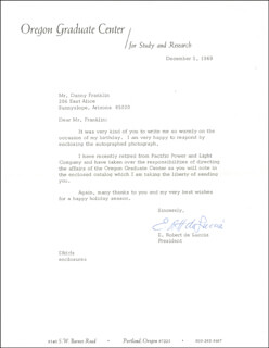 E. ROBERT DE LUCCIA - TYPED LETTER SIGNED 12/05/1969
