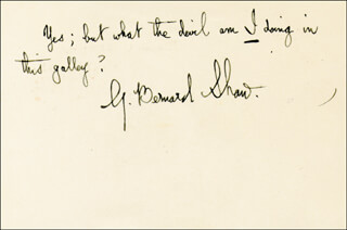 Autographs: GEORGE BERNARD SHAW - AUTOGRAPH NOTE SIGNED