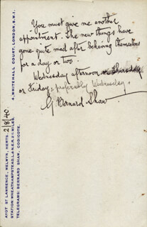 Autographs: GEORGE BERNARD SHAW - AUTOGRAPH NOTE SIGNED 08/02/1940