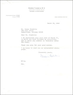 MORRIS FISHBEIN - TYPED LETTER SIGNED 03/28/1969
