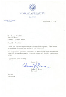 GOVERNOR DANIEL J. EVANS - TYPED LETTER SIGNED 11/02/1973