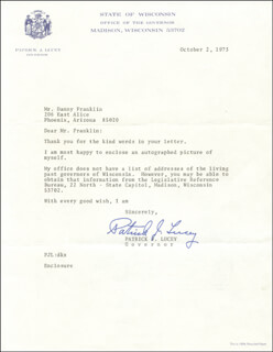 GOVERNOR PATRICK J. LUCEY - TYPED LETTER SIGNED 10/02/1973