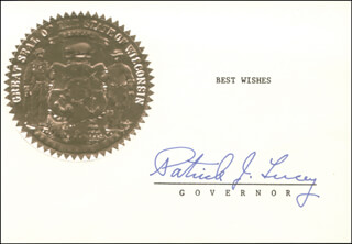 GOVERNOR PATRICK J. LUCEY - TYPED SENTIMENT SIGNED CIRCA 1973