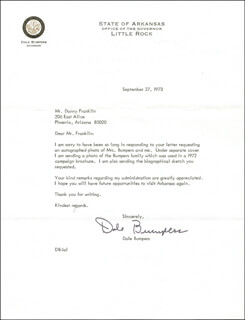 Autographs: GOVERNOR DALE BUMPERS - TYPED LETTER SIGNED 09/27/1973
