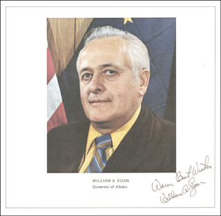 GOVERNOR WILLIAM A. EGAN - AUTOGRAPHED SIGNED PHOTOGRAPH CIRCA 1973