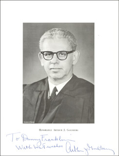 ASSOCIATE JUSTICE ARTHUR J. GOLDBERG - AUTOGRAPHED INSCRIBED PHOTOGRAPH