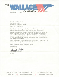 GEORGE C. WALLACE - TYPED LETTER SIGNED 12/04/1973