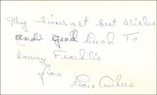 Autographs: LOU AMBERS - INSCRIBED SIGNATURE