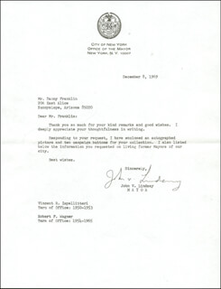 MAYOR JOHN V. LINDSAY - TYPED LETTER SIGNED