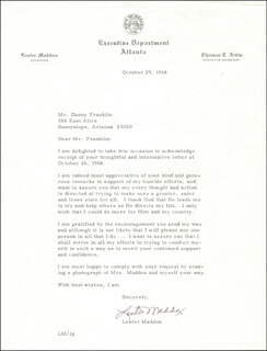 GOVERNOR LESTER G. MADDOX - TYPED LETTER SIGNED 10/29/1968