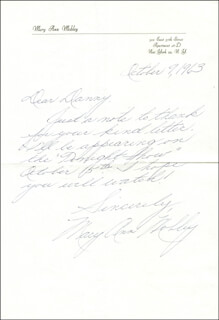 MARY ANN MOBLEY - AUTOGRAPH LETTER SIGNED 10/09/1963
