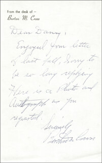 GOVERNOR BURTON M. CROSS - AUTOGRAPH LETTER SIGNED