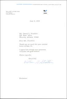 WILLIAM G. STRATTON - TYPED LETTER SIGNED 06/07/1974