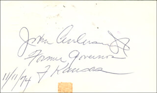 Autographs: GOVERNOR JOHN ANDERSON JR. - SIGNATURE(S) 11/11/1974